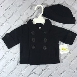 Starting Out NWT black fleece coat and hat